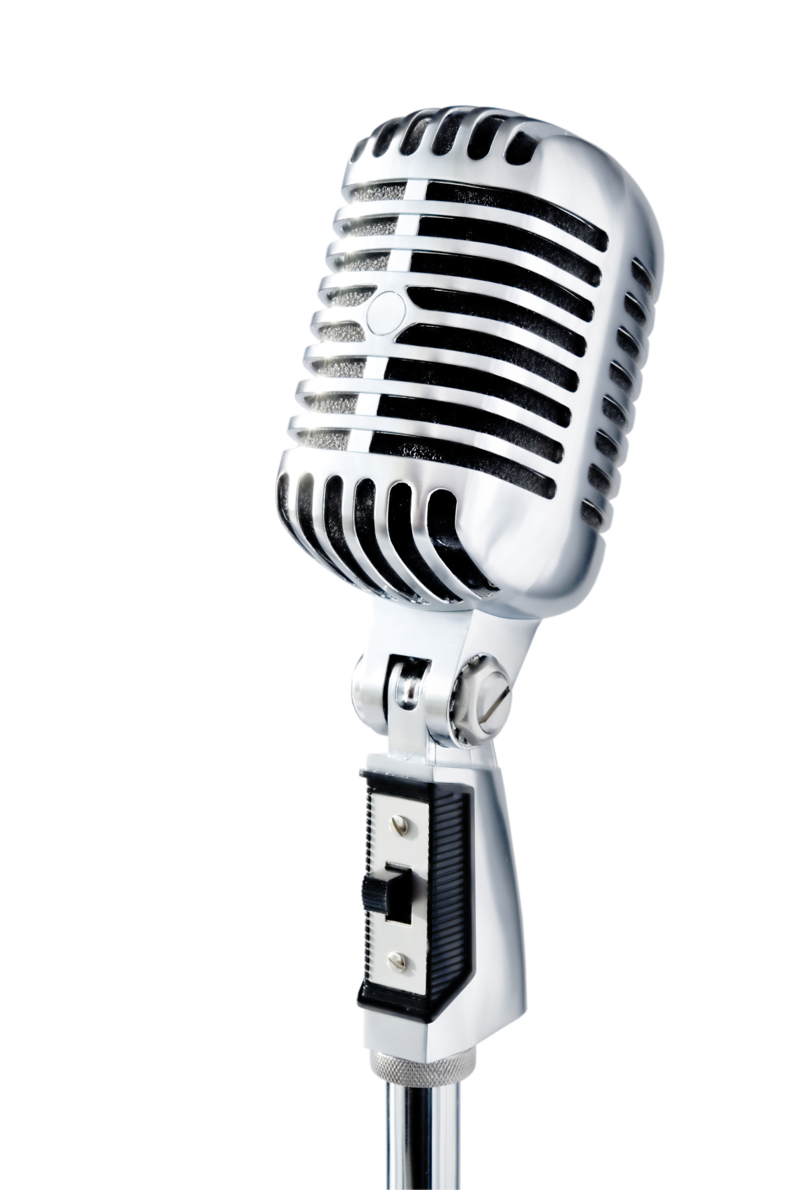 retro microphone over white
