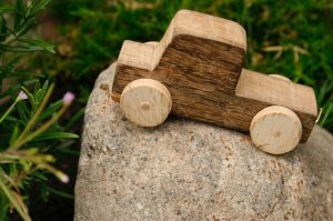 Plain wooden block truck child's toy