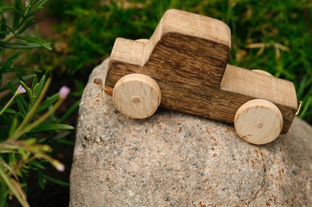 Plain wooden block truck child's toy
