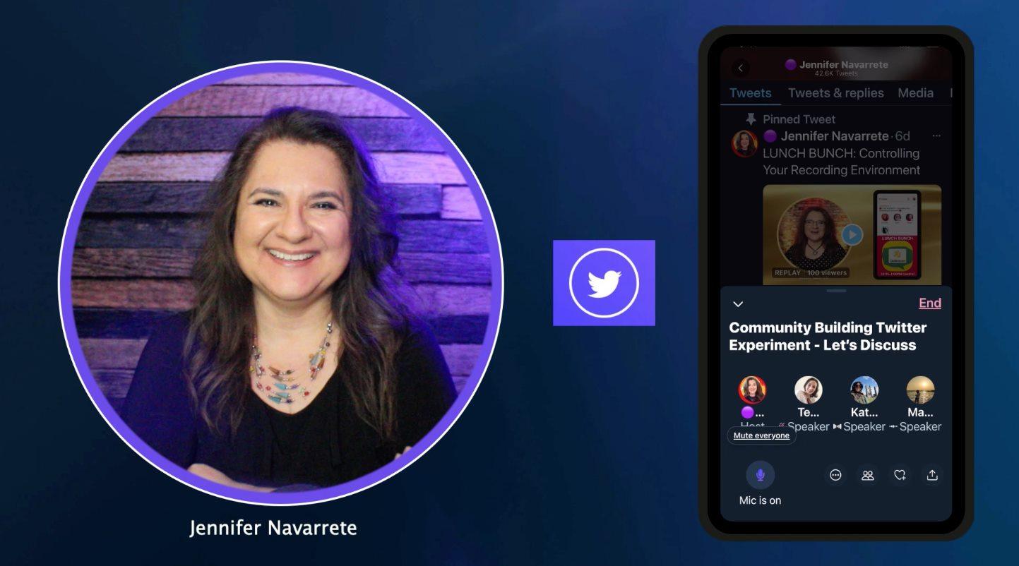 Jennifer Navarrete hosting a Twitter Spaces event