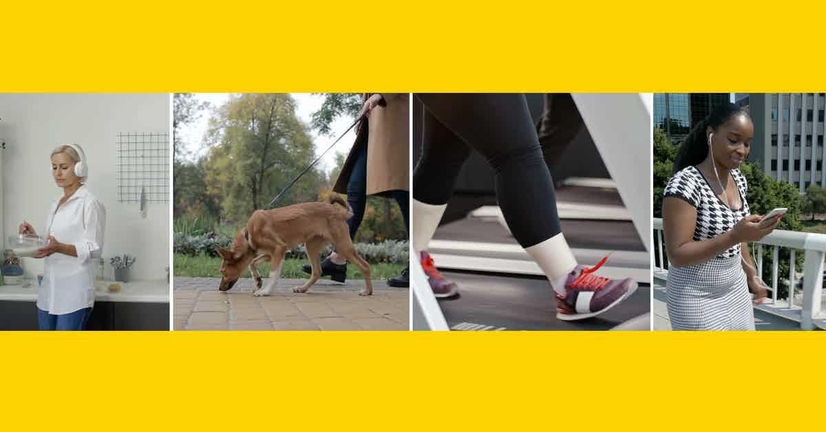 Walk Talk Challenge podcast header showing four women walking